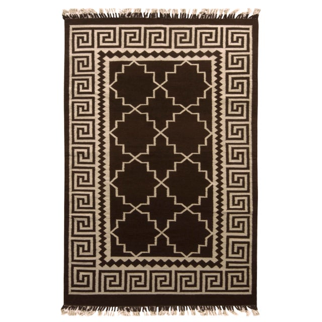 Contemporary Flat Weave Rug Brown and Beige Transitional Kilim Rug For Sale In New York - Image 6 of 6