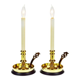 Vintage Brass Bedside Chamber Candlestick Table Lamps - a Pair For Sale