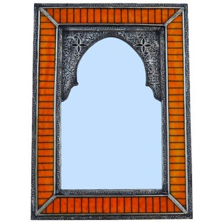Moroccan Mirror With Engravings & Inlay For Sale