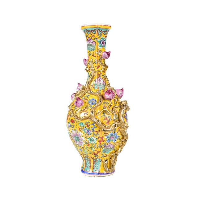 Asian Chinese Yellow Famille Rose Vases - a Pair For Sale - Image 3 of 9