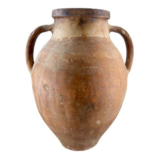 Rustic Terra Cotta Two Handle Jug Urn For Sale