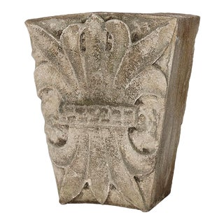 Late 19th Century Carved Limestone Keystone With Decorative Bound Foliate Motif For Sale