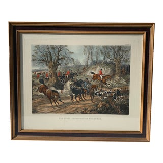 Hand Colored English Horses & Hounds Equestrian Print For Sale