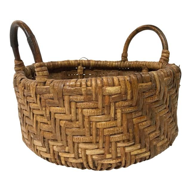 Early 20th Century Woven Wicker Basket For Sale