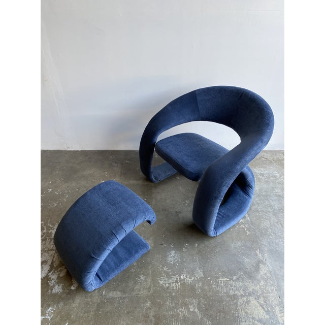 Memphis 1980s Vintage Memphis Sculptural Cantilever Chairs and Ottoman For Sale - Image 3 of 13