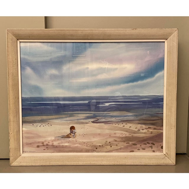 Charming large format new h scene watercolor from listed New York / Florida artist Shirley Clement (1922-2002). Member of...