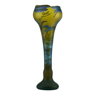 Vintage Botanical Dragonfly Stream Design Signed Galle' Tp Cameo Glass Vase For Sale