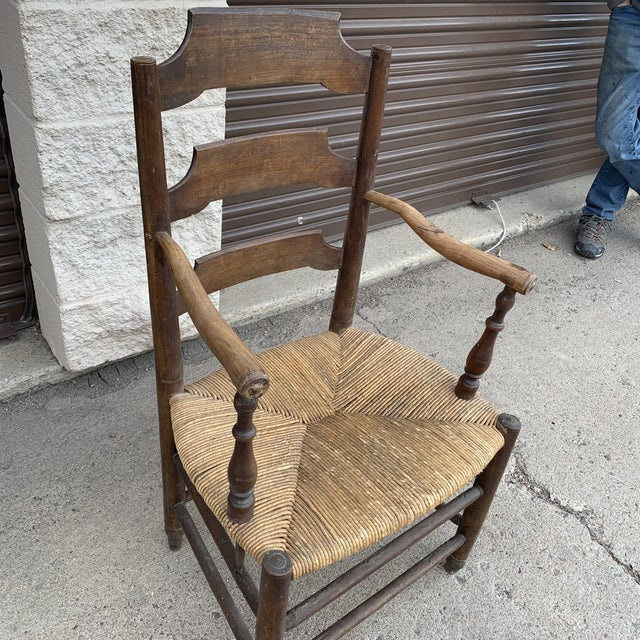Early 19th Century French Ash Wood Rush Seat Armchair For Sale - Image 9 of 11
