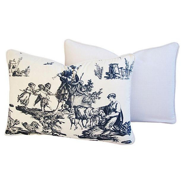 French Countryside Toile Pillows - A Pair - Image 3 of 7