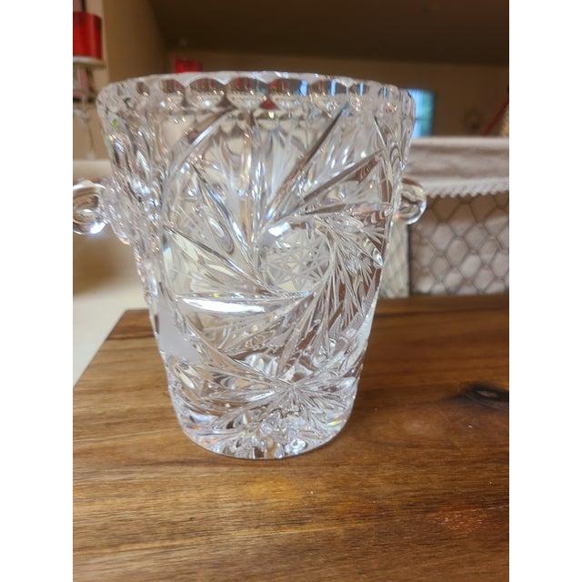 Rare cut crystal Pinwheel Hobstar Ice Bucket with handles. Brilliant cut design