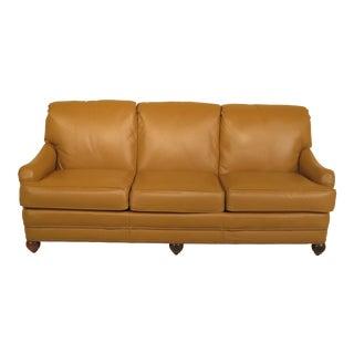 Tan Leather 3-Seat Sofa