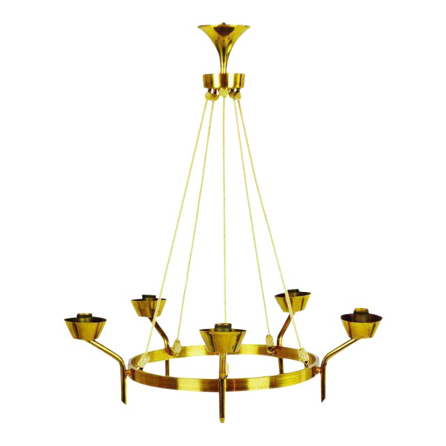 Antique Brass & Rope Chain 5 Light Chandelier - Image 1 of 10