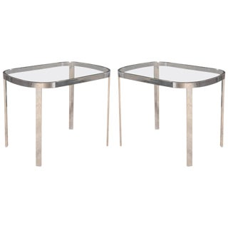 1970s Vintage Directional Chrome Side Tables- a Pair For Sale