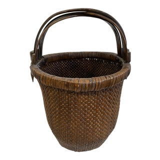 Early 20th Century Large Chinese Woven Basket For Sale