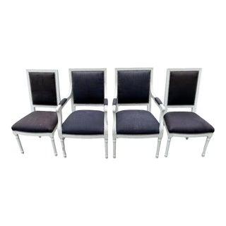 Johnathan Adler Navy Louise Side Chairs - Set of 4 For Sale