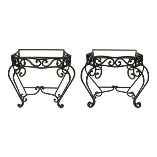 A Pair of Outdoor Iron Console Bases For Sale