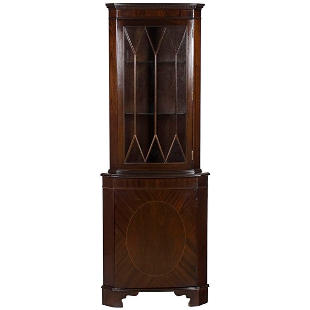 1960s Georgian Mahogany Narrow Bow Front Corner Cabinet Cupboard For Sale - Image 12 of 12