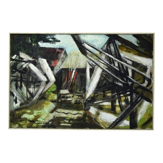 Industrial Yarn Winders in Front of Barns Mid-Century Abstract Oil Painting For Sale