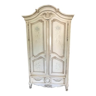 Ivory Hand Painted Armoire