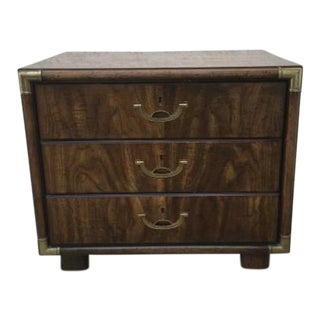 Mid-Century Modern Campaign Drexel Accolade Wood Nightstand For Sale