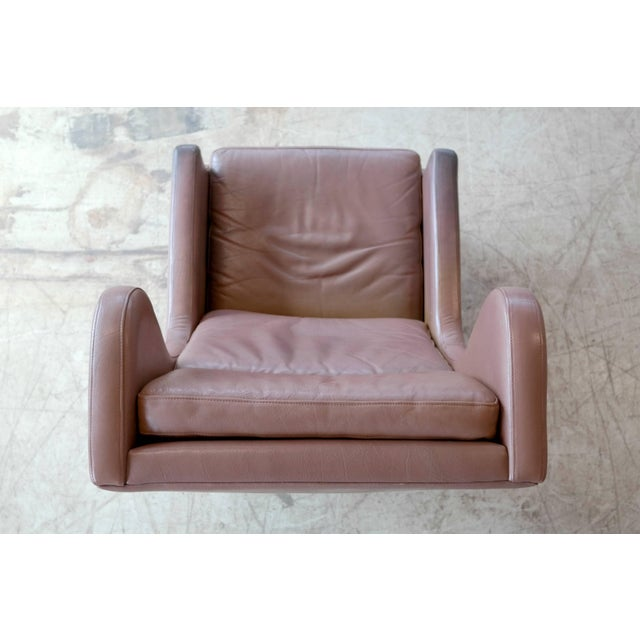 1960s Georg Thams Wingback Chair in Cappuccino Colored Leather Borge Mogensen Style For Sale - Image 5 of 9
