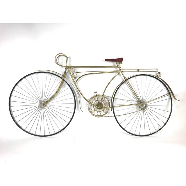 Incredible large brass tone metal bicycle wall sculpture by Curtis Jere c.1986.