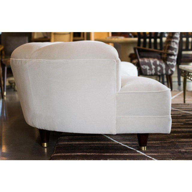 Cotton 1950s Fully Restored Channelled Sofa by Edward Wormley in Pale Gray or White For Sale - Image 7 of 11