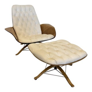 """1960s Vintage George Mulhauser for Plycraft White """"Mr. Chair"""" Lounge Chair and Ottoman For Sale"""