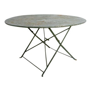 Round French Iron Folding Garden Dining Table For Sale