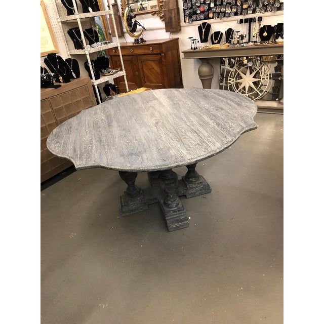 2010s Shabby Chic Gray Washed Pedestal Dining Table For Sale - Image 5 of 6