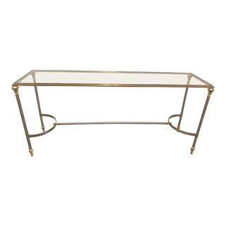Maison Jensen Style Brushed Steel & Brass Console Table With Glass Top For Sale