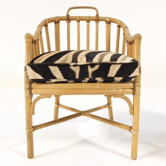 Animal Skin Forsyth Rattan Armchairs with Custom Zebra Hide Cushions - A Pair For Sale - Image 7 of 7