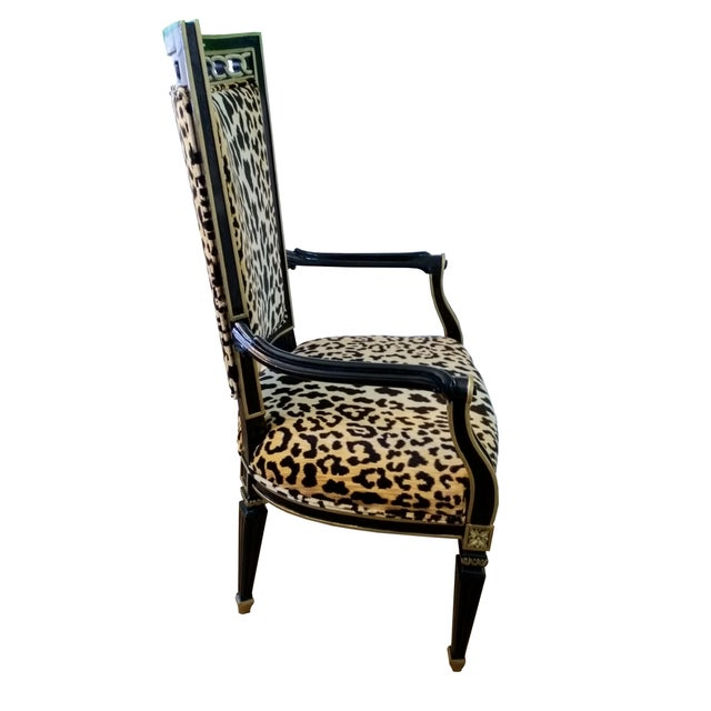 Asian Antique Leopard Velvet and Black Lacquered Occasional Chairs- a Pair For Sale - Image 3 of 6
