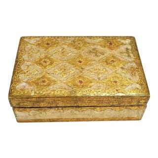 Vintage Gold Gilt Wooden Florentine Keepsake Box W Lid, Signed, Italy