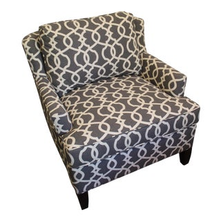Grey Trellis Fabric by Jessica Charles Furniture Lounge Chair For Sale