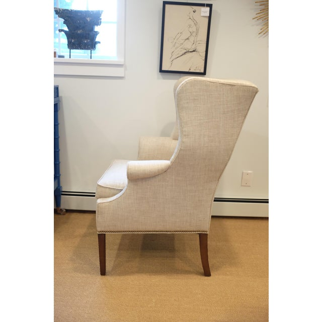 Wood Hollywood Regency Century Wingback Chair For Sale - Image 7 of 11