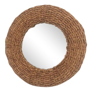 Jute Framed Round Wall Mirror For Sale