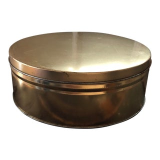 Vintage Gold Tone Storage Cookie Candy Cake Tin For Sale