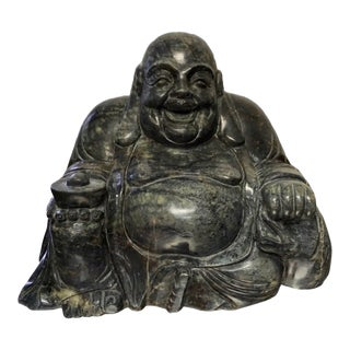 Large Solid Jade Happy Buddha Sculpture For Sale