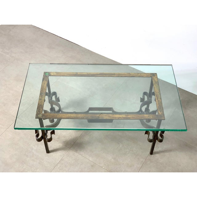 1950s Brutalist Spanish Gilded Iron Glass Coffee Table, Circa 1950's For Sale - Image 5 of 10