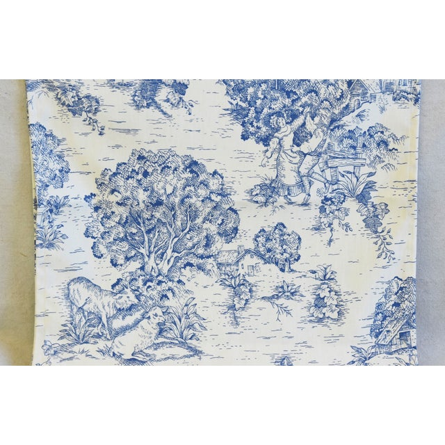 """Blue & Cream French Farmhouse Country Toile Table Runner 106"""" Long For Sale In Los Angeles - Image 6 of 8"""