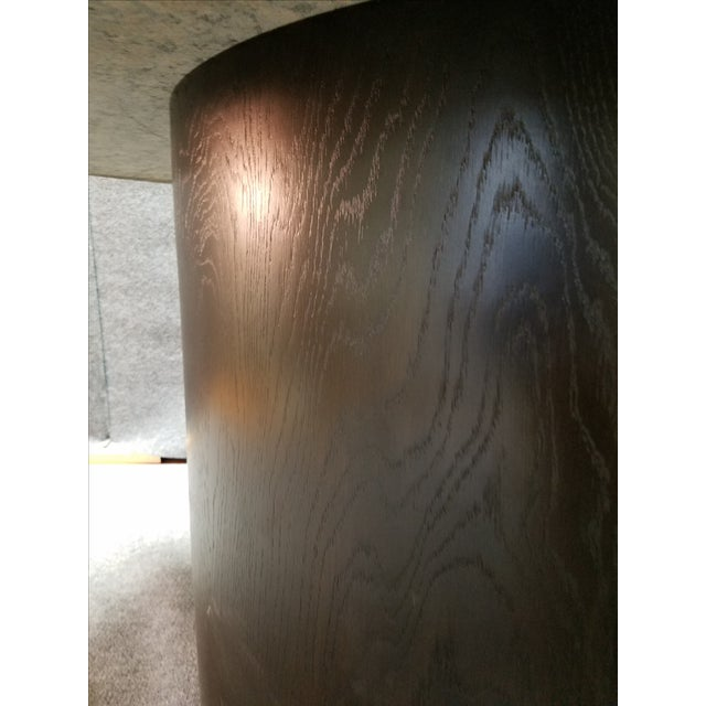 Round Granite Marble & Drum Base Dining Table For Sale - Image 4 of 6
