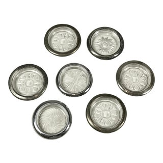 Silver Rimmed Glass Coasters - Set of 7 For Sale