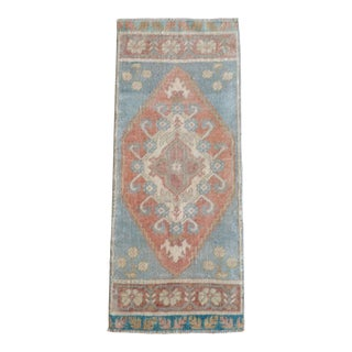 Hand Knotted Door Mat, Entryway Rug, Bath Mat, Kitchen Decor, Small Rug, Turkish Rug - 1′4″ × 3′3″ For Sale
