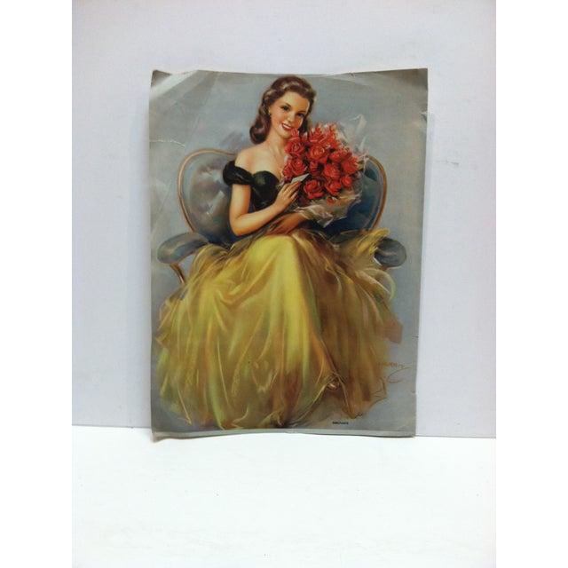 "Vintage Color Print on Paper, ""Debutante"" by Kerbit, Circa 1940 For Sale - Image 4 of 4"