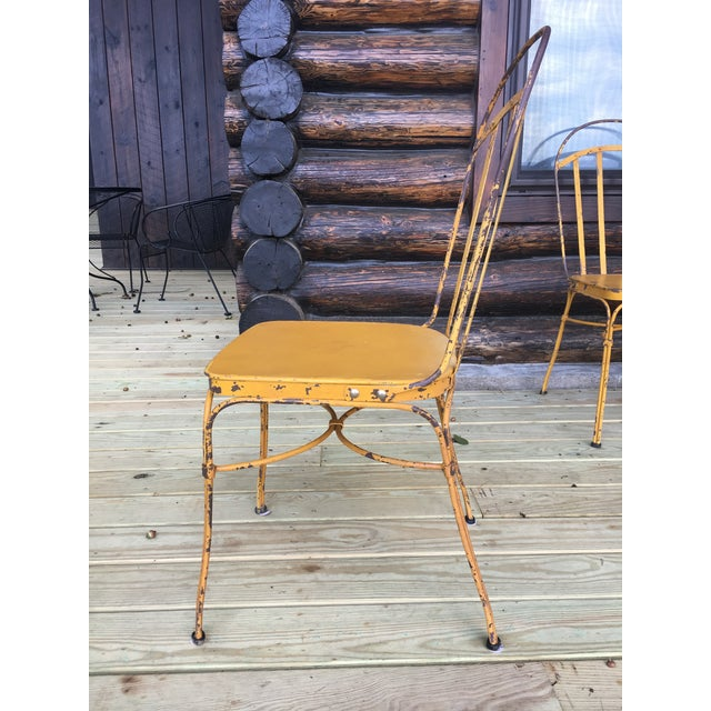 Industrial Vintage Mid Century Yellow Industrial Metal Dining Chairs-Set of 6 For Sale - Image 3 of 13