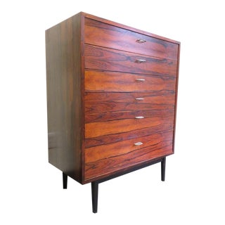 1970s Mid-Century Modern 6-Drawer Rosewood Highboy For Sale