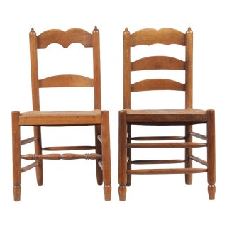 Pair of Antique French Ladder Back Chairs For Sale
