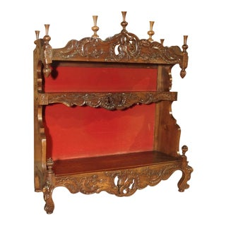 Antique French Walnut Wood Estagnier (Plate Rack) For Sale