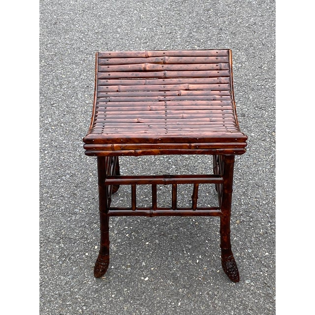 1900 - 1909 English Bamboo Bench or Stool With Faux Tortoise Finish For Sale - Image 5 of 9